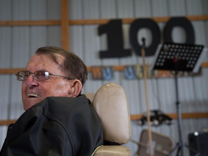 W.M. Mainord celebrates his 100th birthday at Verrell Farms on Saturday July 19, 2014.