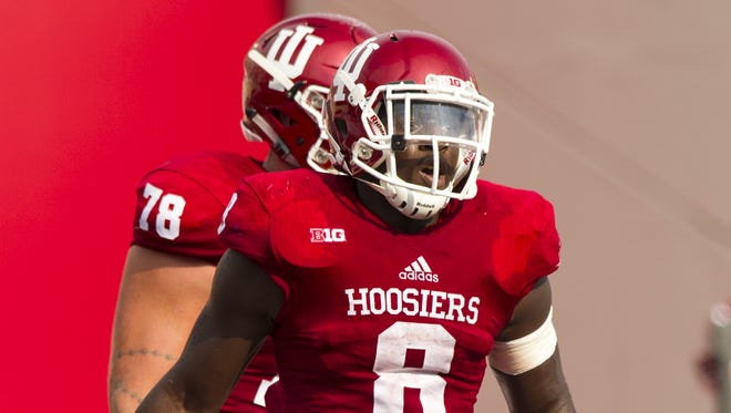Jordan Howard (8) became the second IU running back in as many seasons to be drafted when he was picked Saturday.
