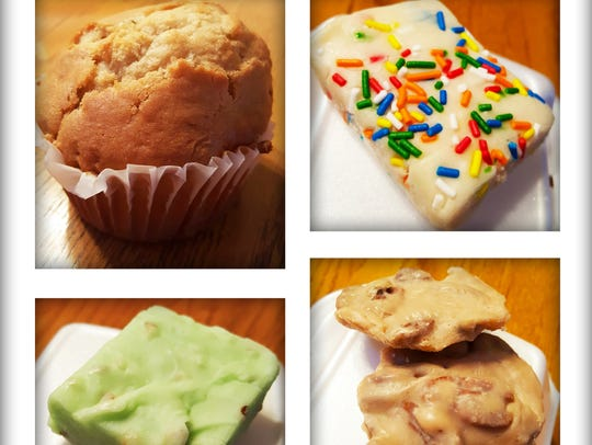 Green chile sweet muffin ($2.75), cake batter fudge