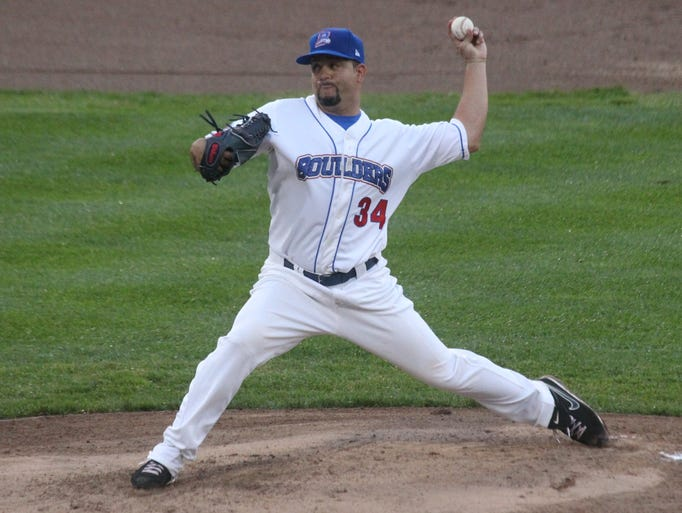 Rockland Boulders' Richard Salazar delivers a pitch during the team's season opener vs. the Quebec Capitales at Provident Bank Park May 23, 2014.
