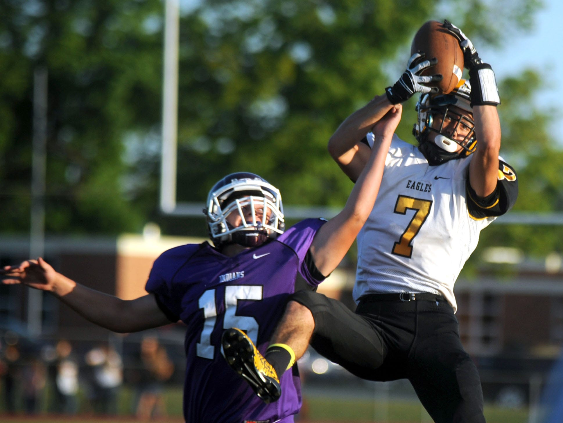 Colonel Crawford's Dylan Gulley catches a pass against Mount Gilead last season. Gulley will play for the South in the North Central Ohio Football Coaches Association All-Star Classic at Lexington High School on June 13.
