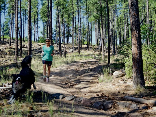 Karen Williams and her dog Princess run a trail near Barranca Mesa at Los Alamos on Monday June 27, 2016. Williams was mauled by a mother bear during a marathon at the Valles Caldera National Preserve recently. The bear was euthanized, required under state law for rabies testing. Willaims thinks the law needs to change. (Staci Matlock/Santa Fe New Mexican via AP) MANDATORY CREDIT