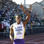 LSU standout Vernon Norwood celebrates after winning the 400-meter dash during the NCAA track and field championships last month in Eugene, Ore.