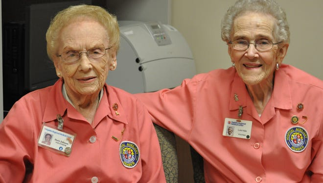 Doris Johnson (right) and Lula Hale have volunteered at Rapides Regional Medical Center for more than 25 years.