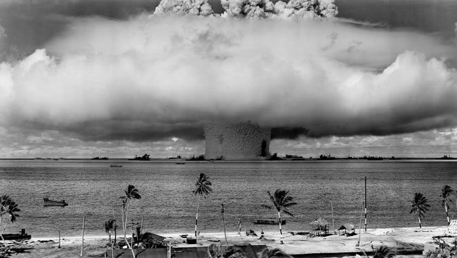 The decommissioned USS Independence was among the targets in the July 25, 1946, atomic bomb test at Bikini Atoll in the South Pacific. The damaged ship was towed to San Francisco for decontamination and scuttled five years later about 30 miles offshore.