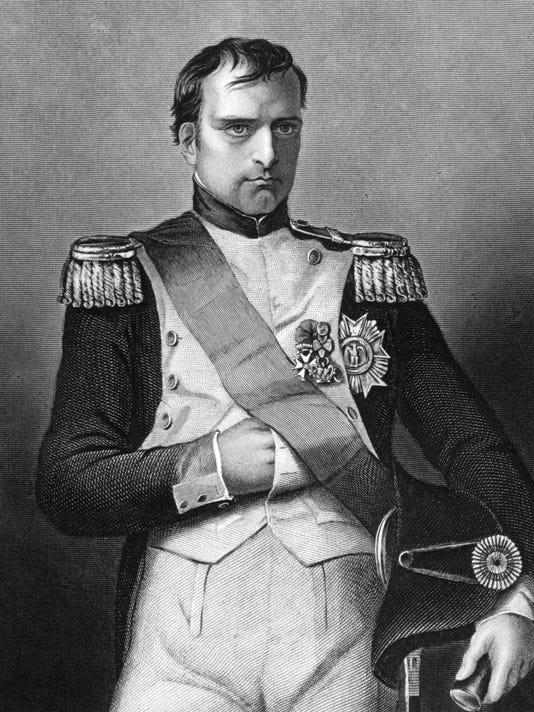 Close-up of a black and white portrait of Napoleon Bonaparte
