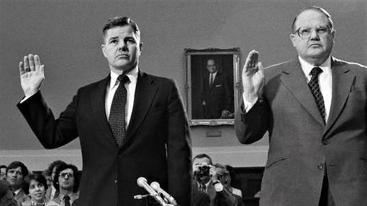 The billionaire Hunt brothers, William Herbert, left, and Nelson Bunker are sworn in before a House subcommitte investigating the collapse of the silver market in this May 2, 1980, photo taken in Washington, D.C. The Texas billionaires, who lost millions when the market fell, gave their version of why the market collapsed. The brothers, two of the richest men in the world, were tried for wiretapping in Lubbock in 1975.