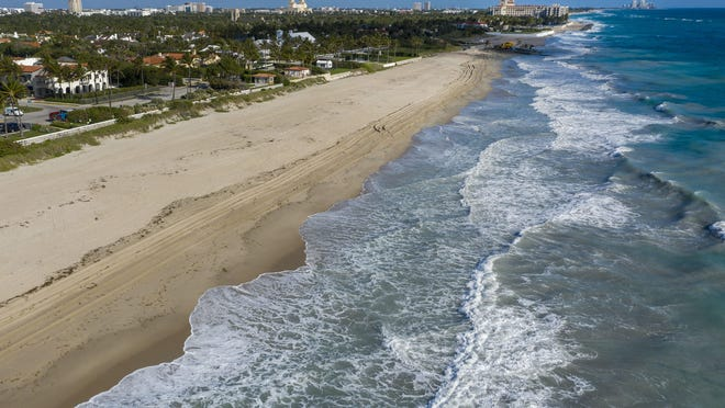 The Town of Palm Beach closed its beaches to help curb the spread of the  COVID-19 virus on March 17, 2020 in Palm Beach, Florida.