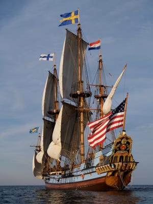 The Kalmar Nyckel is shown. It became the  state's official Tall Ship.