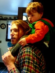 Abel, 3, with his father, Steve Williams.