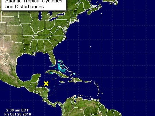 There is a disorganized area of showers and thunderstorms in the Caribbean that has 0 percent chance of forming.
