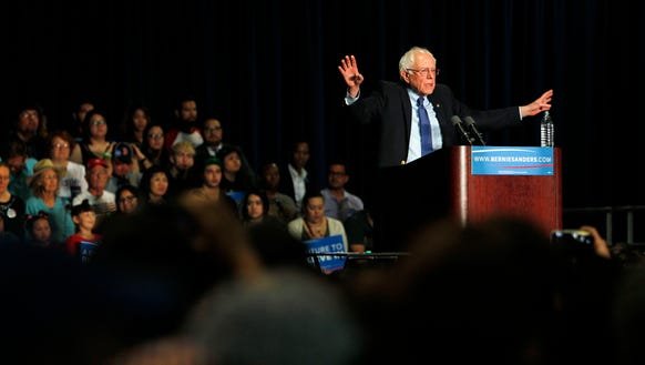 Bernie Sanders speaks at a campaign rally at the Phoenix