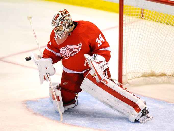Red Wings goalie Petr Mrazek makes one of his 16 saves