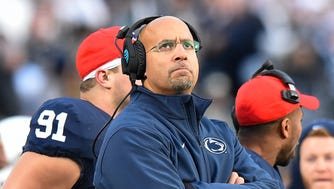 James Franklin looks on from the sidelines against Michigan State.