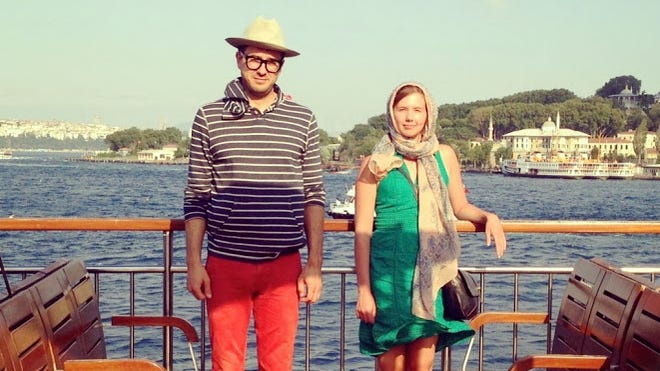 Freelance writer Clara Bensen and biology professor Jeff Wilson met on the dating site OkCupid and decided the best way to get to know one another was to take a three-week trip to Europe, with stops in Turkey and Scotland. A passerby snapped this photo on the Bosphorus Ferry in Istanbul, Turkey.