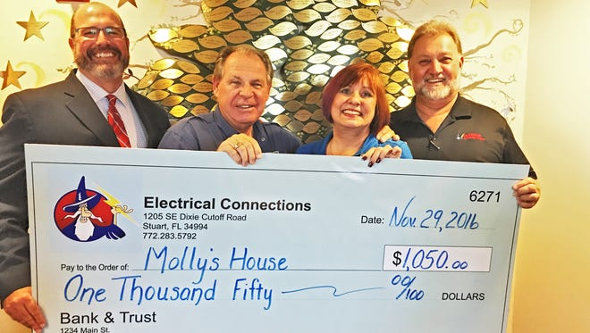 Bill West (from left), CEO of Molly's House; Kevin Sharkey, co-founder of Molly's House; and Terri and Mike Pettengill, co-owners of Electrical Connections.