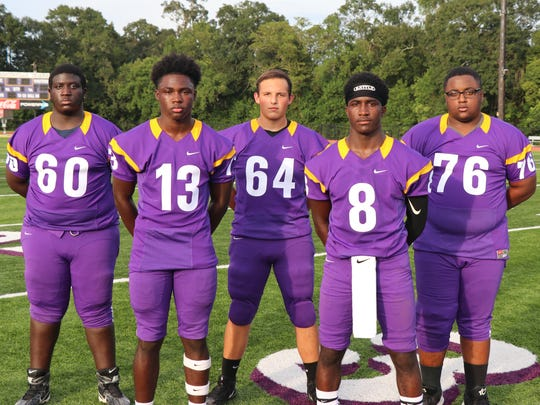 St Martinville's offensive lineup includes (front, from left) Travien Benjamin, Markavon Williams, (back, from left) Chris Narcisse, Nick Douet and Craig Fontenette.