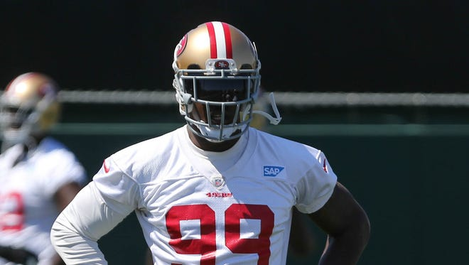 San Francisco 49ers outside linebacker Aldon Smith (99) during minicamp at the 49ers practice facility.