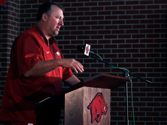 Arkansas head coach Bret Bielema addresses the team's annual NCAA college football media day event in Fayetteville, Ark., Sunday, Aug. 9, 2015. Arkansas is to kick off its season at home against University of Texas-El Paso on Sept. 5. (AP Photo/Samantha Baker)