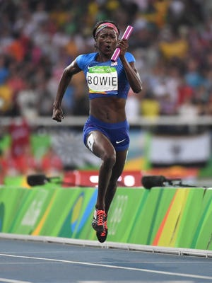 Tori Bowie (USA) during the women's 4x100m relay final in the Rio 2016 Summer Olympic Games at Estadio Olimpico Joao Havelange.