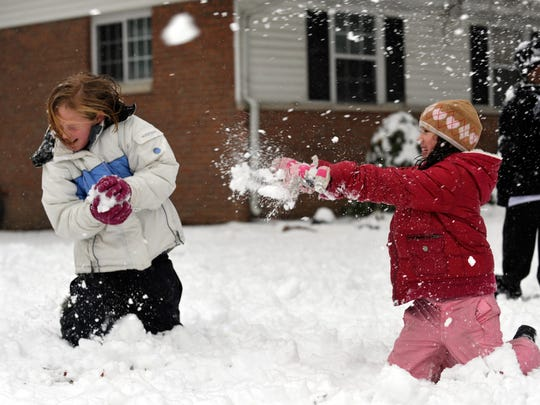 A file photo of a neighborhood snow fight in Peoria,