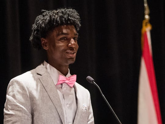 Kira Lewis, of Hazel Greene, is named the 6A Player of the Year during the annual Alabama Sport Writers Association Mr. and Miss Basketball Banquet in Montgomery, Alabama, on Tuesday April 10, 2018.
