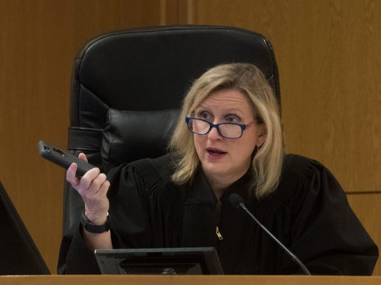Circuit Judge Jan Shackelford addresses the defense during the trial of Martin Erin Goodman Thursday, April 12, 2018. Goodman is charged with attempted sexual battery.