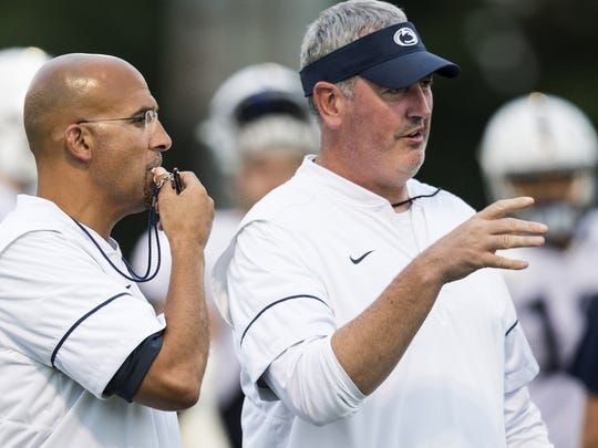 Joe Moorhead, right, helped transform James Franklin's offense almost overnight. As expected, star high school receivers, running backs and quarterbacks seem more interested in the Nittany Lions. And it shows in their 2018 recruiting class.
