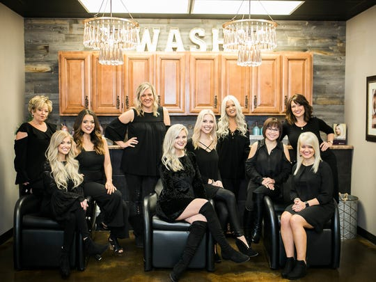 Members of the Josie's Salon team include (front) hairstylist Alex York, esthetician/lash artist Brooke Burns, hairstylist Ashley Underwood; (middle) hairstylist/salon manager Chelsea Payne, hairstylist Marisa Lane, nail technician Tram Le; (back) hairstylists Donna Nelson, Jordan Houk, Sarah Buckner and Ella Wallace. Not pictured is hairstylist Monica Williams.