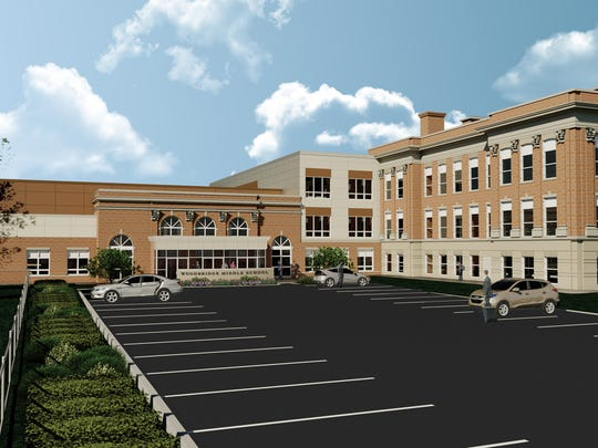 Rendering of the new exterior of Woodbridge Middle