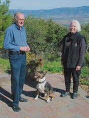 "David and Carolyn Alexander with their champion male American Bull Terrier Georgie at their home in Salinas. Alexander will appear as a judge on the Hallmark Channel's ""2018 American Rescue Dog Show,"" airing Feb. 19."