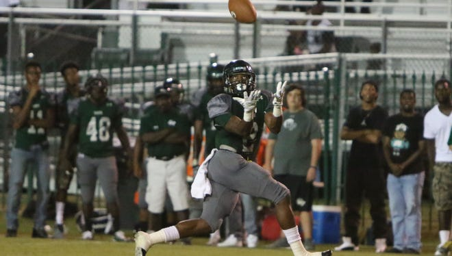 West Point Marcus Murphy with the reception on the reverse play against Noxubee County Friday night.