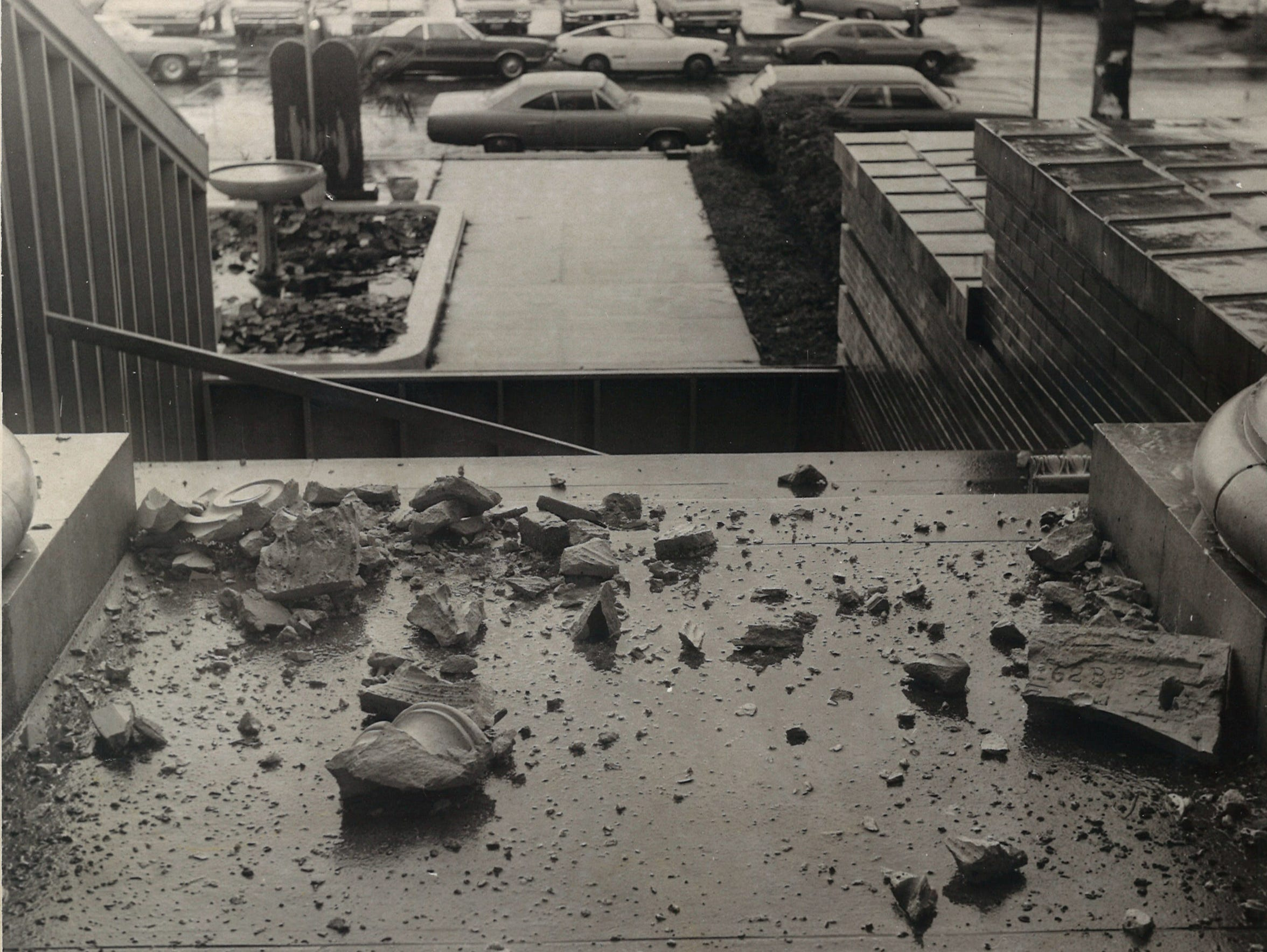 Chunks of masonry were falling from the 1914 Nueces