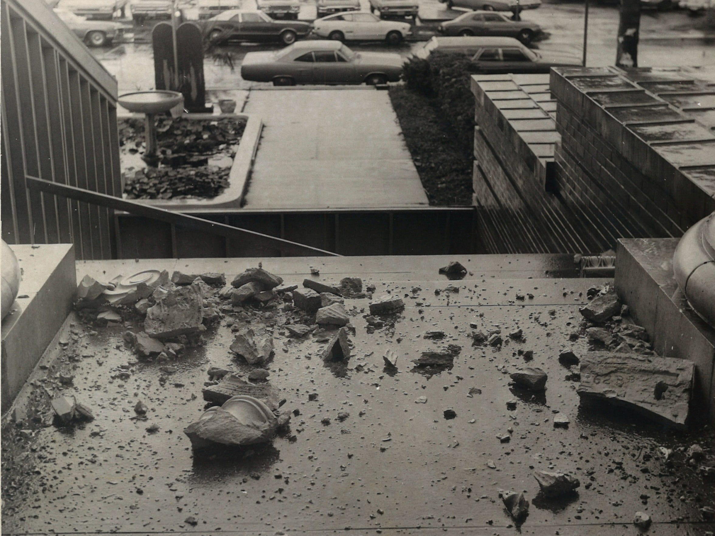 Chunks of masonry were falling from the 1914 Nueces County Courthouse when this photo was taken on Aug. 24, 1976.