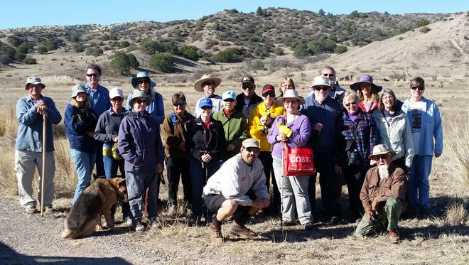 The Grant County Trails Group drew a crowd of nearly 30 hikers on Sunday for their community hike with miniature donkeys at the Saddle Rock Canyon Monument, off of the Cliff Highway.