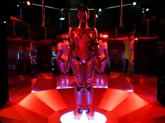 """A replica of 'Maria' robot designed and featured in Fritz Lang's """"Metropolis"""" on display, during a press preview for the Robots exhibition held at the Science Museum in London, Tuesday, Feb. 7, 2017. The exhibition which shows 500 years of mechanical and robotic advances is open to the public until Sept. 3."""