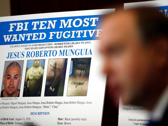 Aaron Rouse, FBI special agent in charge of the Las Vegas field office, speaks during a news conference to announce the addition of fugitive Jesus Roberto Munguia to the FBI's Top 10 most wanted list Monday, Nov. 13, 2017, in Las Vegas.