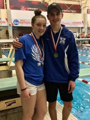 Scott senior Lindsey Fox and Highlands sophomore Finn Murphy, state diving champions, during the KHSAA state swimming and diving championships Feb. 24, 2018 at the University of Louisville.