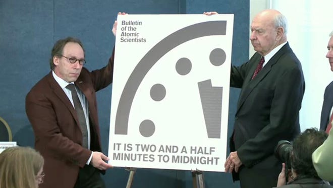 On Thursday, board members of the Bulletin of the Atomic Scientists unveiled changes to the Doomsday Clock. It is now 2 1/2 minutes to midnight.