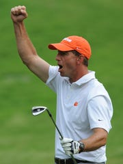 Clemson head coach Dabo Swinney reacts after chpping in on No. 12 during the third round of the BMW Charity Pro-Am at Thornblade Club.