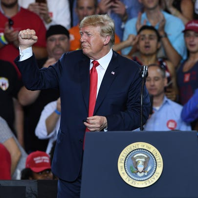 President Donald Trump during the McMaster-Trump Rally