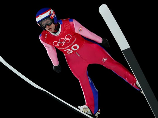Roman Koudelka (CZE) jumps in the men's large hill individual training run during the Pyeongchang 2018 Olympic Winter Games at Alpensia Ski Jumping Centre. Mandatory Credit: Rob Schumacher-USA TODAY Sports