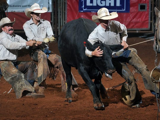 The Spade Ranch team had its hands full during the