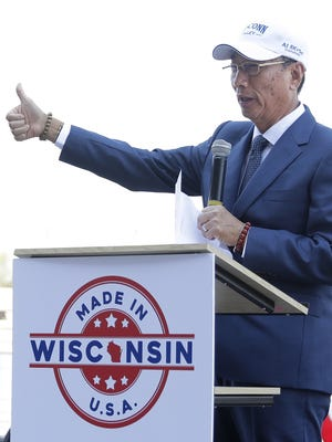 Foxconn CEO Terry Gou announces on June 29, 2018, that the technology company will open a new innovation center in downtown Green Bay.