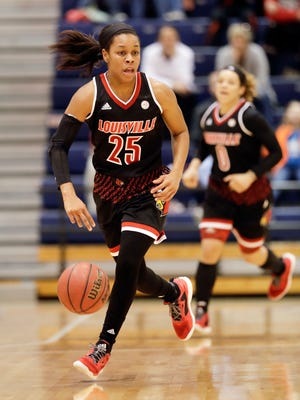 Louisville guard Asia Durr (25) brings the ball down the court against Tennessee-Martin in the first half of an NCAA college basketball game Friday, Nov. 11, 2016, in Martin, Tenn. Durr led Louisville with 24 points as the Cardinals won 100-57. (AP Photo/Mark Humphrey)