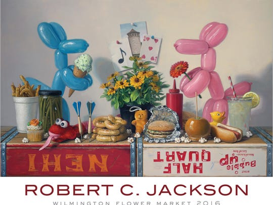 Robert Jackson's poster for the Wilmington Flower Market features icons of his trip there with his children. It will sell for $35.