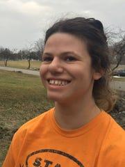 Eva Edwards Stoll, a Burlington High School senior speaks her mind outside Burlington High School on Feb. 27, 2018.