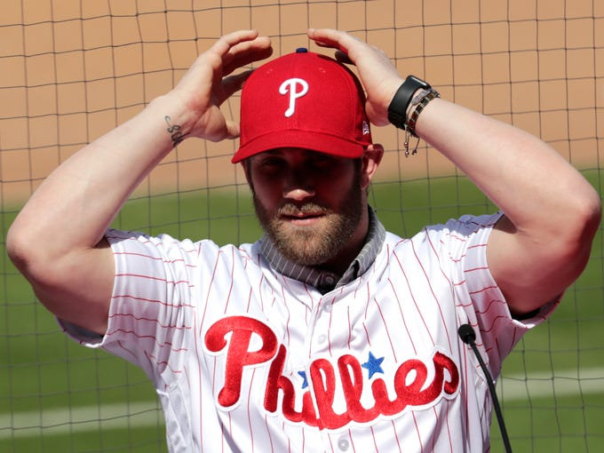 March 2, 2019: Bryce Harper adjust his cap as he introduced