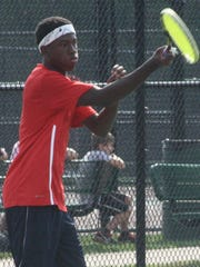 Justin Crawford, pictured during a match earlier this season, placed second in his flight.