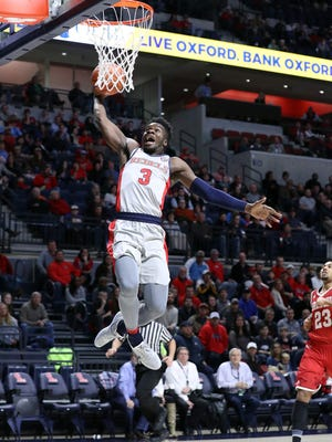 Ole Miss guard Terence Davis has scored at least 15 points in three consecutive games.